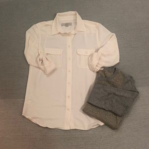 LOFT cream shimmer striped button down blouse S